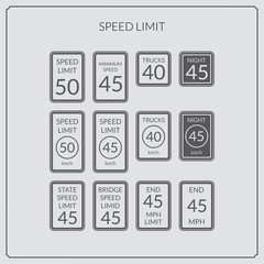speed limit road sign icon set