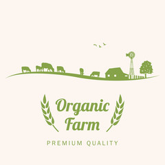 Silhouette of cows in farm with text organic farm, vector