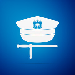 Police cap and baton flat icon on blue background. Policeman uniform. Vector Illustration