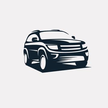 modern suv logo template, offroader car stylized vector silhouet