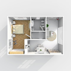 3d interior rendering of small furnished home apartment