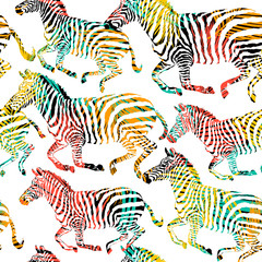 Zebra tropic animal in the jungle on colorful painting hand drawn background. Print seamless vector pattern in fashion styles