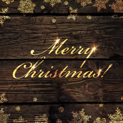Merry Christmas! Golden Greeting on Wooden Background. Snowflake