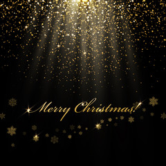 Merry Christmas  greetings and golden lights. Abstract holiday b