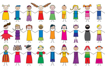 child cartoon drawings, vector artwork