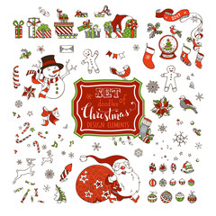 Vector set of Christmas signs, symbols, decorations and design elements on white background.