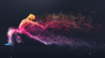 Abstract colorful plastic human body mannequin figure with scattering particles over black background. Action dance ballet pose. 3D rendering illustration