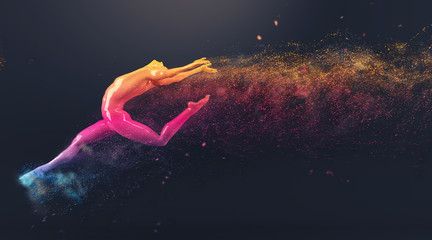 Abstract colorful plastic human body mannequin with scattering particles over black background. Action dance ballet pose. 3D rendering illustration