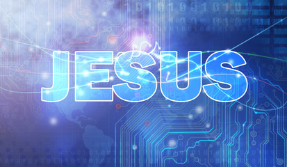 Jesus Religious Words on Technology Background