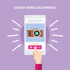 Mirrorless Camera Website Store. Responsive mobile ecommerce online transaction. Finger Hand touch screen in mobile purchase.