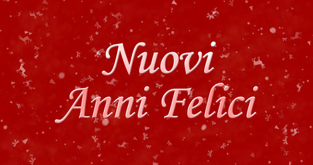 "Happy New Year text in Italian ""Nuovi anni felici"" on red background"