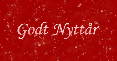 """Happy New Year text in Norwegian """"Godt nyttar"""" on red background"""