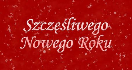 """Happy New Year text in Polish """"Szczesliwego Nowego Roku"""" on red background"""