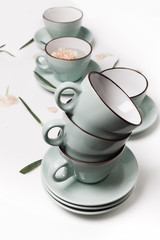 Clean dishes, coffee or tea cups set