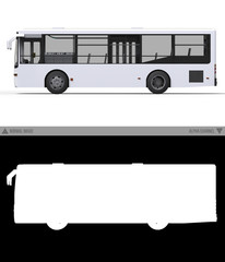 Small urban white bus on a white background with separate alpha channel. 3d rendering.