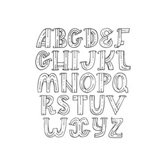 Hand drawn decorative alphabet in doodle creative stile, decorated with dots and stripes. Vector isolated collection, good for lettering, quotes and typography design. Letters sequence from A to Z