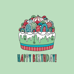 Cute birthday cake doodle vector illustration with the words happy birthday underneath a cake with icing, swirls, cream and decorations on a green background