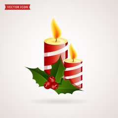 Christmas candles vector icon.