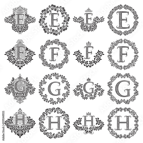 Vintage Monograms Set Of Letters E F G H Heraldic Coats Of Arms