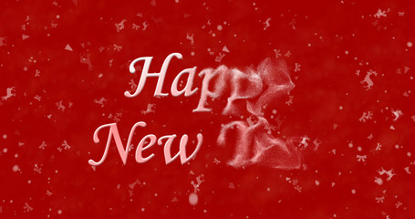 Happy New Year text turns to dust from bottom on red background