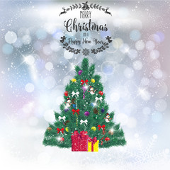 Realistic Christmas tree with decorations on a background of snow. Vector illustration. Fir branches. Greeting card with the holiday.