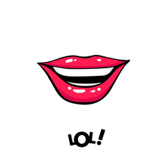 Sexy female mouth laughing and LOL! lettering. Vector comic illustration in pop art retro style isolated on white background.