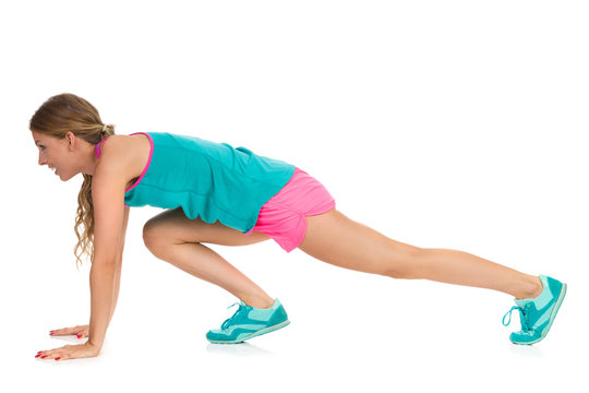 Woman Doing Mountain Climber Exercise Isolated Profile