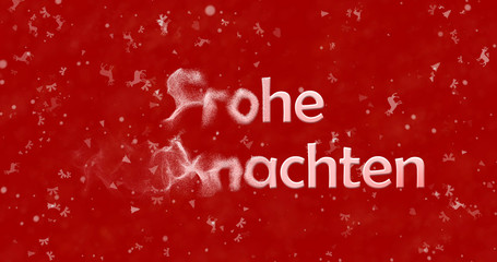 "Merry Christmas text in German ""Frohe Weihnachten"" turns to dust from left on red background"