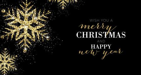 Elegant Merry Christmas Gold Banner