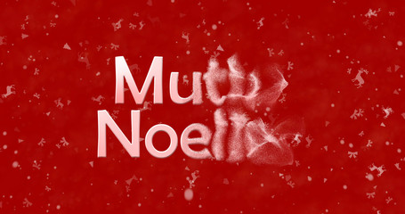 "Merry Christmas text in Turkish ""Mutlu Noeller"" turns to dust from right on red background"