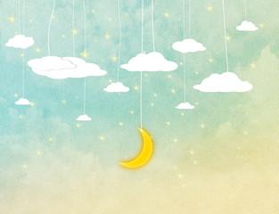 Cartoon style night sky
