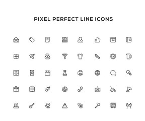 Business line icon set. Pixel perfect vector icon set for websites and infographics. Black color theme