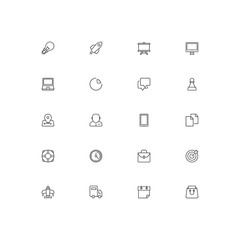 Set of universal flat line icons. Pixel perfect vector icon set for websites and infographics