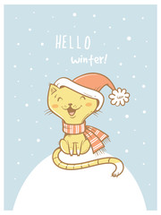 Card with cute cartoon cat  in scarf  and hat. Winter time. Snow day. Little kitten  in clothes. Funny animal. Vector image. Children's illustration.