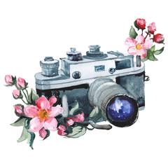 Watercolor raster illustration of vintage camera and flower.