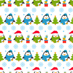 Seamless pattern of penguins in different situations. Background with new year and Christmas cartoon penguins. Vector illustration