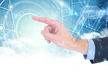 Composite image of businessman hand pointing something
