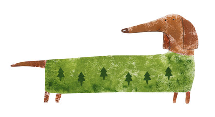 Dachshund in suit with Christmas trees. Hand drawing illustration