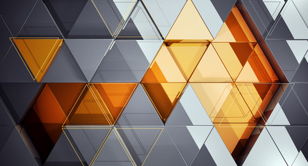 Modern background is of the mirror triangles. 3d illustration.