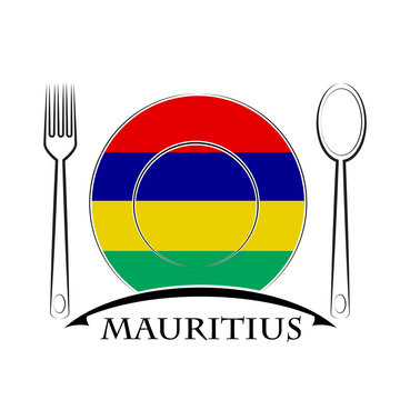 Food logo made from the flag of Mauritius