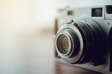Vintage camera,selective focus,flare light