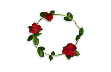 Rose and rose petals Round form