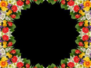 Flower kaleidoscope on black background