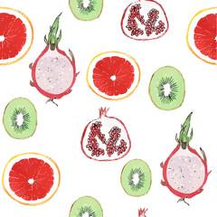 watercolor exotic fruit pattern vector illustration