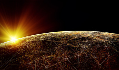 Global International Connectivity Background/Connection lines Around Earth Globe, Futuristic Technology  Theme Background with Light Effect, 3d illustration