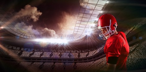 Composite image of concentrated american football player