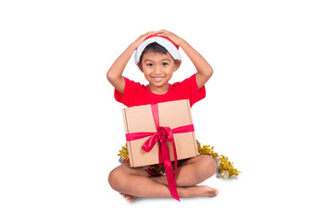 Cute little boy with brown gift box