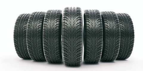 car tire on a white background - 3d rendering