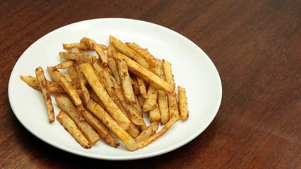 French fries on a white plate
