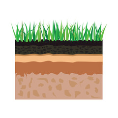 soil layers with grass